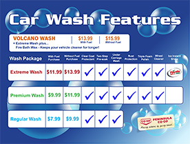 Brochure: Car Wash | Touchless, Drive-Thru, Soft Cloth, Wand Wash Locations | Peninsula Co-op
